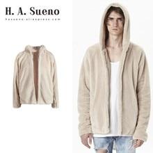 H.A.Sueno 2018 hot thick mens coats Sherpa hoodies streetwear fog high street jackets winter skateboard urban clothing /5