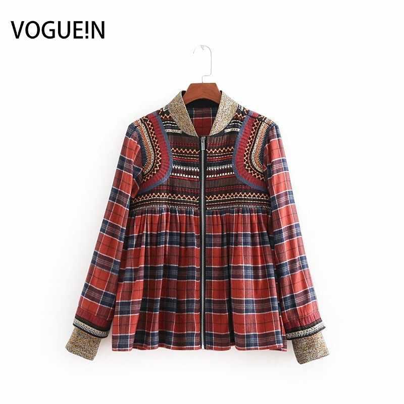 b83436f01d VOGUEIN New Womens Retro Ethnic Embroidery Long Sleeve Plaid Print Coat  Jacket Wholesale