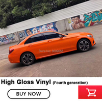 Self adhesive super crystal vinyl Gloss Orange Wrap by professionals to wrap Cars Global sales Quality assurance