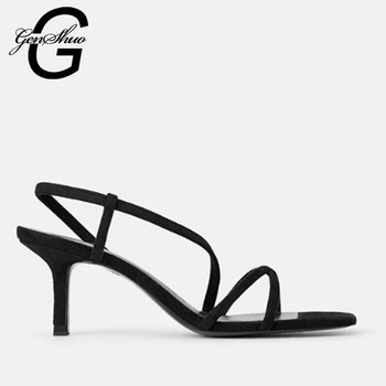 GENSHUO White High Heels Sandals For Summer Narrow Band High Heel Vintage Square Toe Heel Sandals Concise Ladies Shes For Party 1