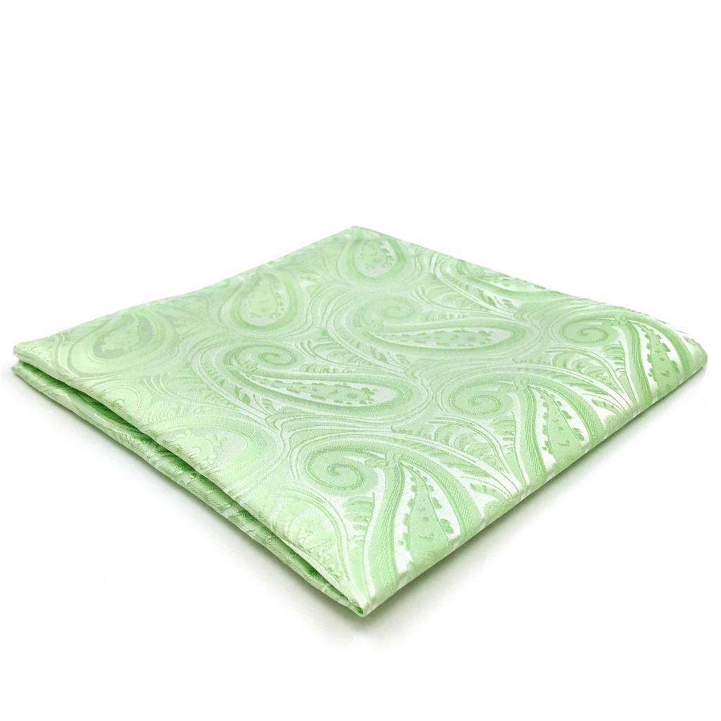EH06 Light Green  Mens Pocket Square Paisley Groom Fashion Handkerchief Classic Hanky