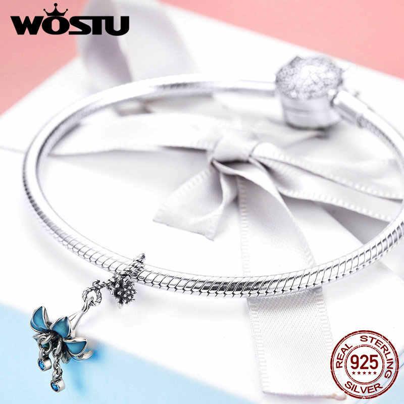 WOSTU luksusowe 925 Sterling Silver niebieski kwiat orchidei koraliki urok pasuje oryginalny bransoletka wisiorek dla kobiet biżuteria Making CTC034