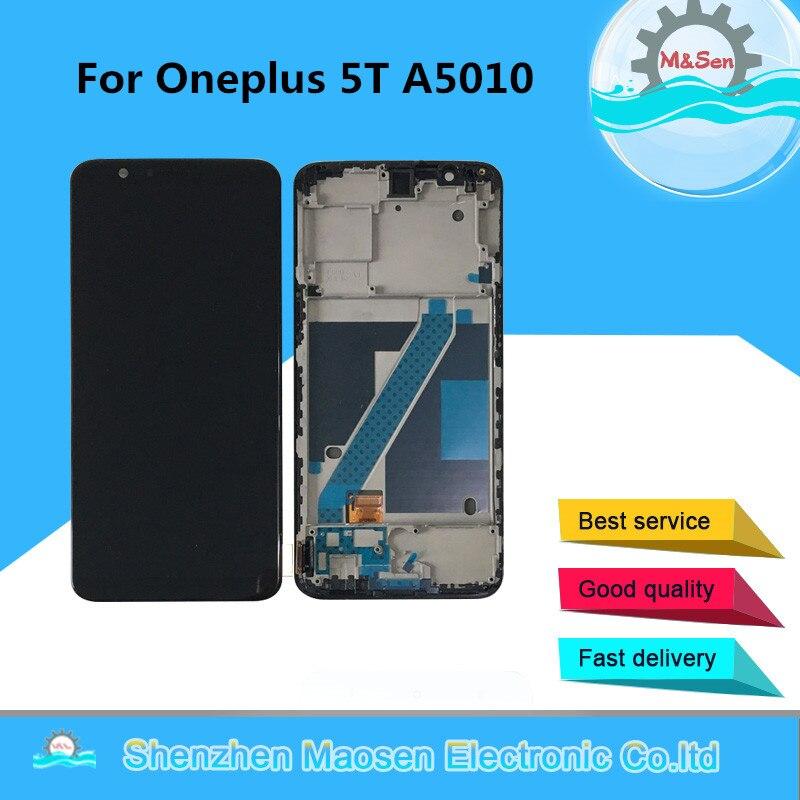 D'origine M & Sen Pour Oneplus 5 T A5010 Oneplus 5 A5000 Supor Amoled écran lcd Display + Tactile Digitizer Avec cadre Pour Oneplus 5 5 T