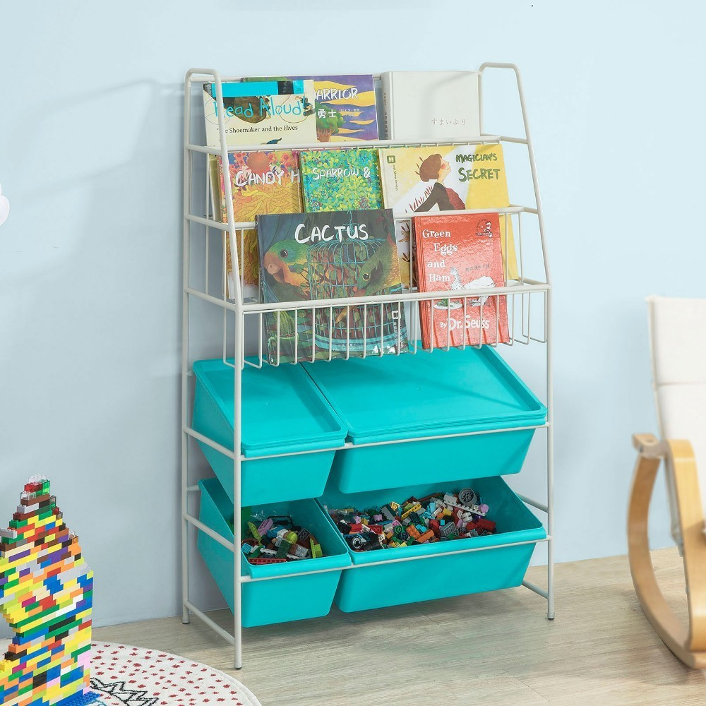 SoBuy KMB07-B, Children Kids Bookcase Storage Display Shelving Unit Metal Organization Rack With Plastic Storage Boxes