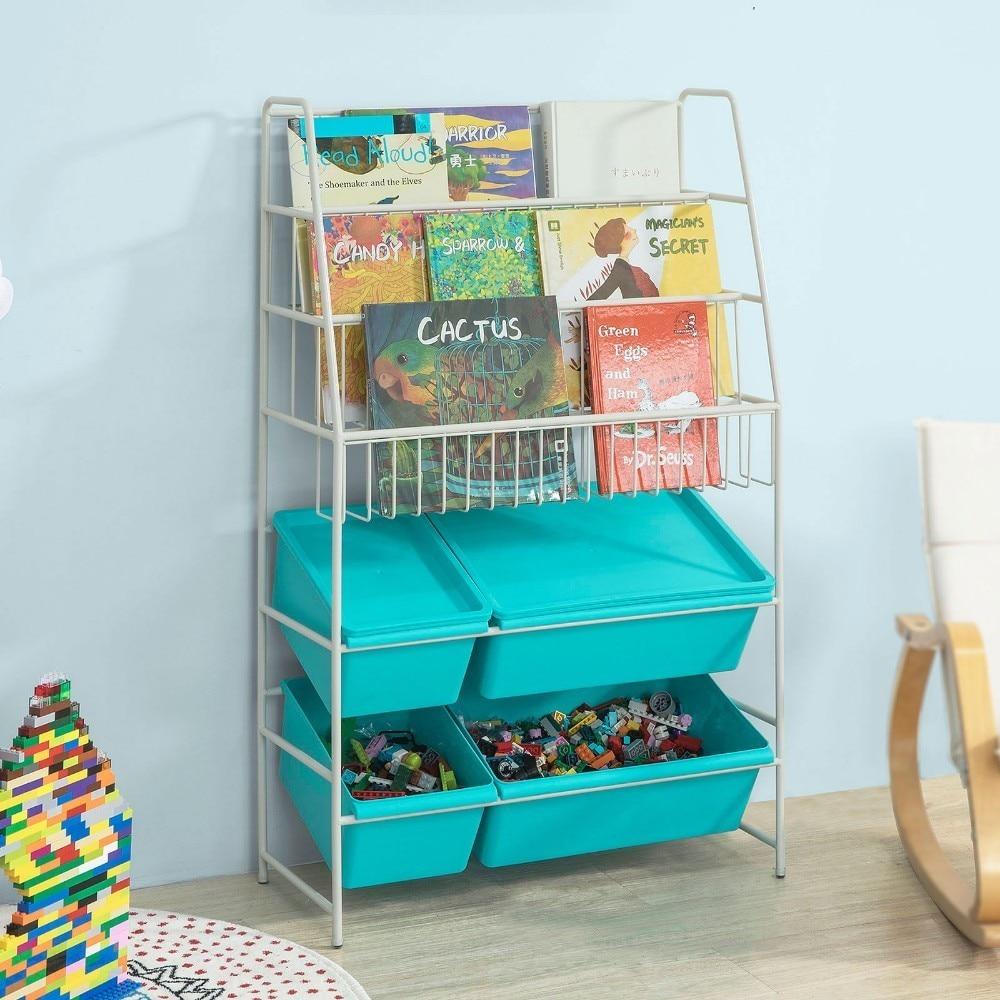 SoBuy KMB07-B, Children Kids Bookcase Storage Display Shelving Unit Metal Organization Rack with Plastic Storage Boxes
