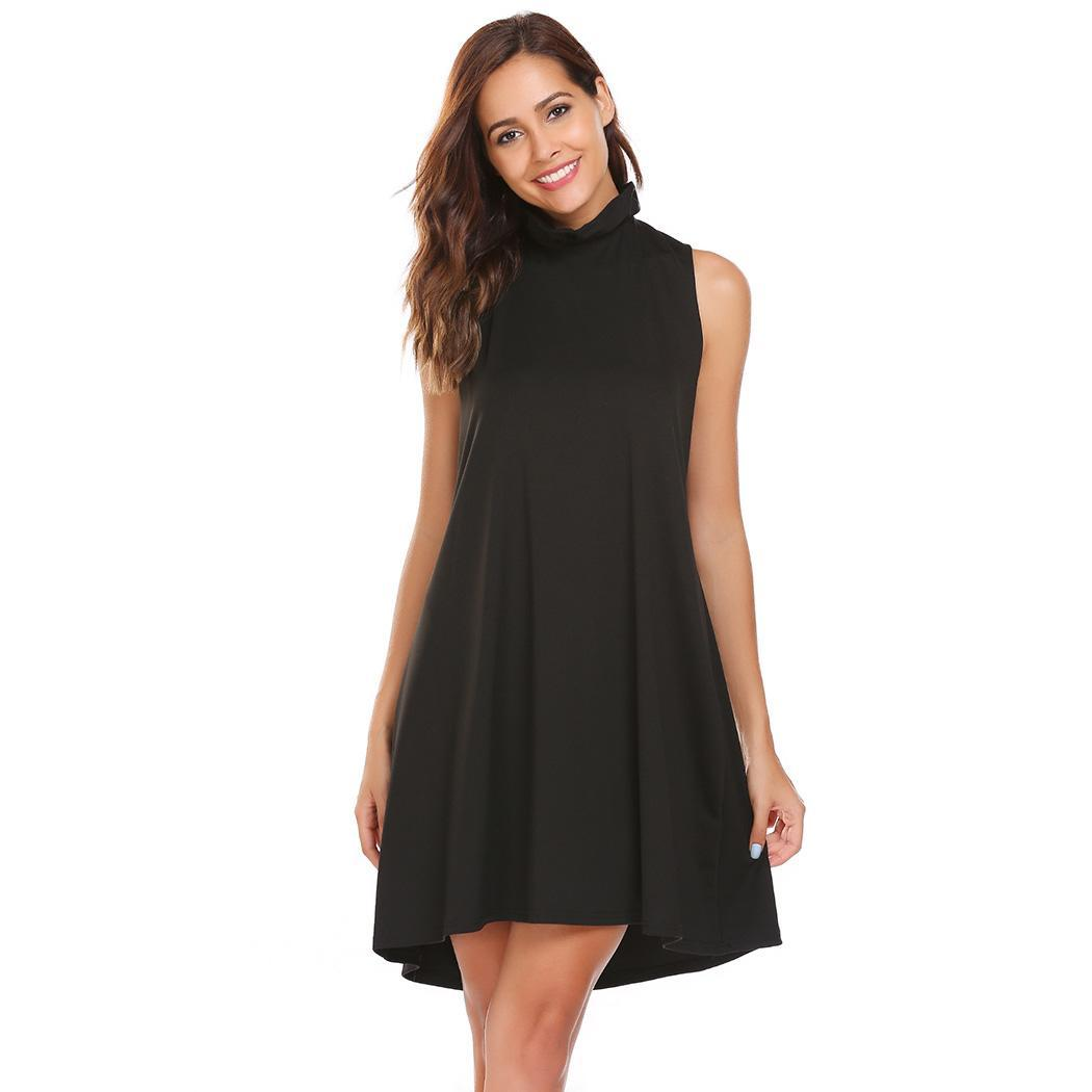 AL'OFA Party   Cocktail   Club Short Mini   Dress   Women Casual Sleeveless Solid Ruched O-Neck Back Lace-up A-Line   Cocktail     Dresses