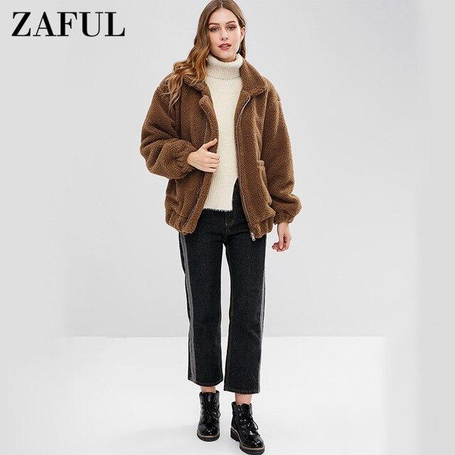 ZAFUL Female Zip Up Fluffy Coat Open Stitch Berber Fleece Sherpa Winter Colthing Zipper Pockets Bear Outwear 2018 Women Fashion