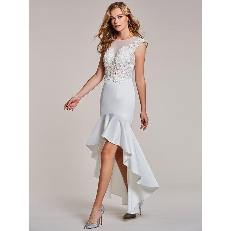 Dressv Asymmetry Evening Dress White Appliques Cap Sleeves Dress Women Party Scoop Neck Beaded Mermaid Formal Evening Dresses