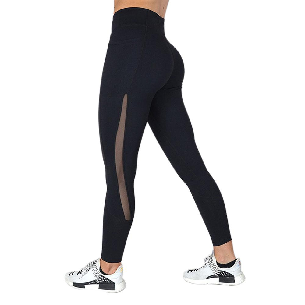 MISSKY Women Leggings Solid Color Mesh Stitching Moisture Absorption Sweat Yoga Pants Fitness Pants