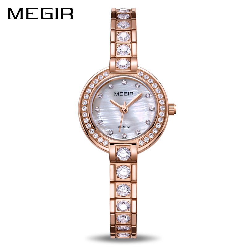 MEGIR Women Bracelet Watches Top Brand Luxury Rose Brass Lover Ladies Watch Women Clock Waterproof Relogio Feminino Montre Femme цена
