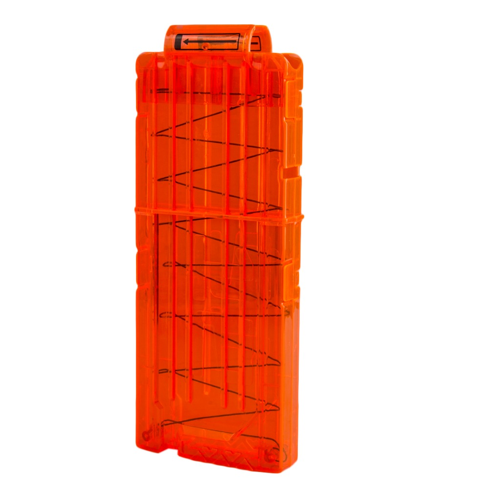 Surwish 12 Reload Clip Magazines Runde Dart Udskiftning Plast Magasiner Toy Gun Soft Bullet Clip Orange For Nerf N-Strike