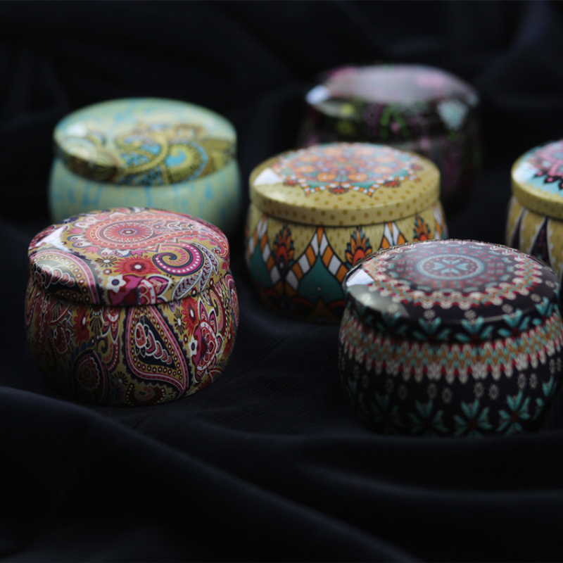בציר תוף בצורת פחיות ברזל תה תיבת סוכריות קוקי פרח עלה תה נר צנצנת אחסון מקרה מיכל מתנה