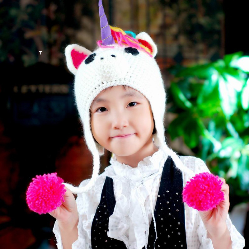 Unicorn Cartoon Hat For Girls Boys Lovely Warm Knitted Winter Kawaii Cap Hat for Children Kids   Beanies   Baby   Skullies     Beanies