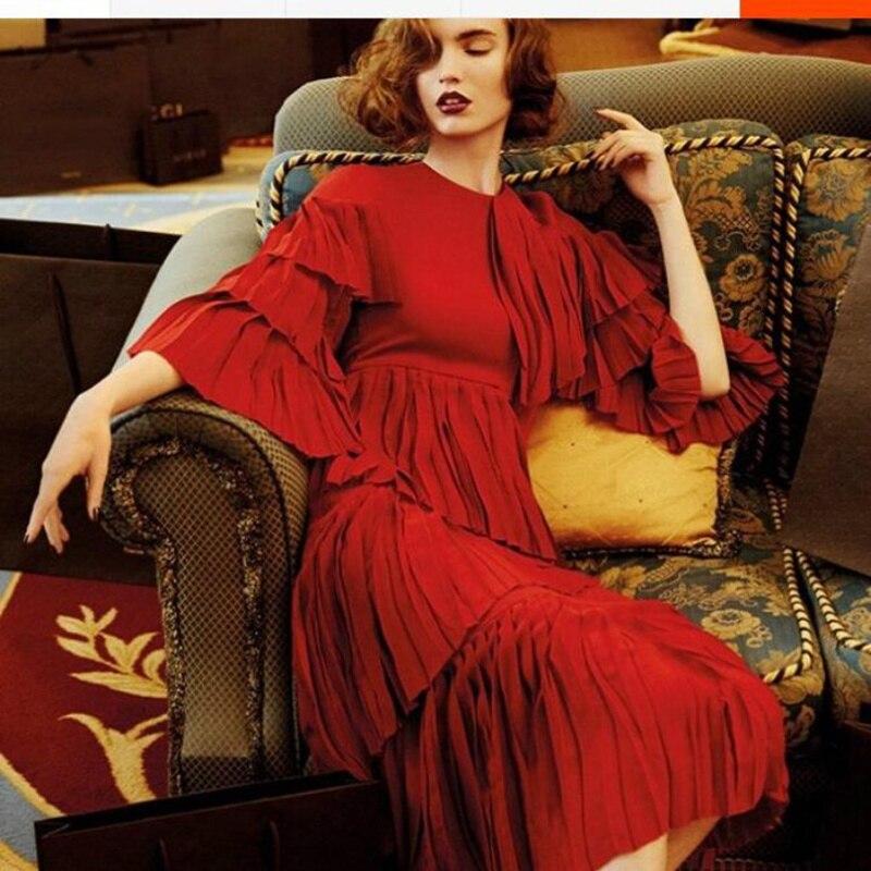 Новинка, милое летнее женское платье 2017, горячее красное платье, высококачественное винтажное шифоновое длинное платье с оборками в стиле Л