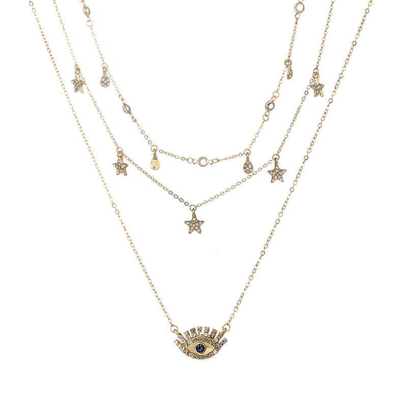 Colliers à la mode en or multicouche maman Boho Crystal Eye Star pendentif goutte d'eau colliers africains pour femmes 2019 bijoux ras du cou