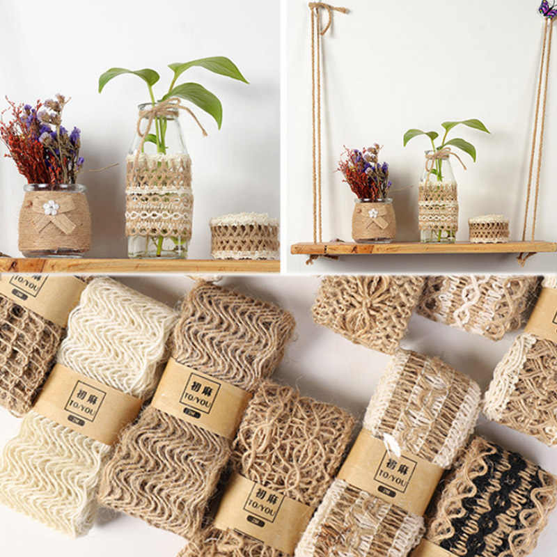 2M/Roll Natural Party Crafts Wedding Ribbon Gift Warrping Hemp Ribbon Jute Burlap DIY Festival Supplies Festival Decoration