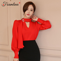 Foamlina Elegant Women Korean Fashion Red Blouse Shirt 2019 New Spring Bow Tie Ribbon Neck Long Lantern Sleeve Casual Work Shirt