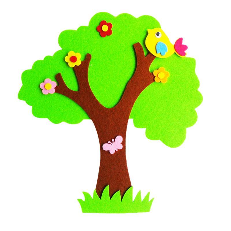 Diszipliniert 1 Pc Wand Aufkleber Fühlte Großen Banyan Baum Cartoon Diy Ornamente Für Kindergarten Kinder Zimmer Livng Zimmer