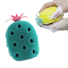 Silicone Bath Brushes Pineapple Design Newborn Bath Brush Kids Shower Body Massage Comb Facial Cleanser Hair Brush Baby Products
