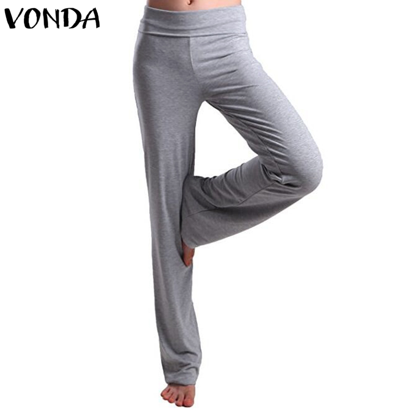 VONDA Fasion   Wide     Leg     Pants   Women 2019 Casual High Waist Solid Long Trousers Slim Fit Bottoms Female Elastic Waist Sports   Pants