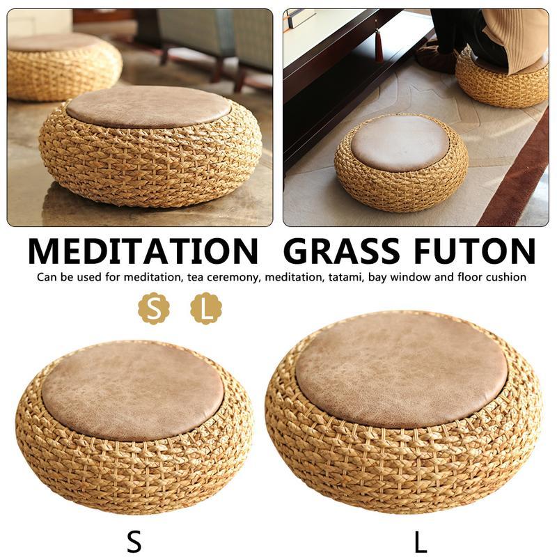 Coussin de Yoga épaissi rond tapis en cuir queue de chat rotin tissage Futon pour pratique de Yoga Zen ou repos de méditation bouddha