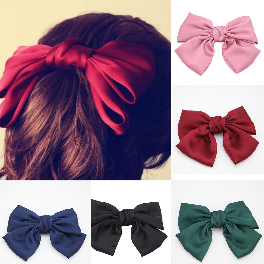 Large Bowknot Hair Clips Girls' Silk Satin Bow Barrette Hair Clip DIY Big Bowknot Hairclips Pink Wine Red Hair Accessories