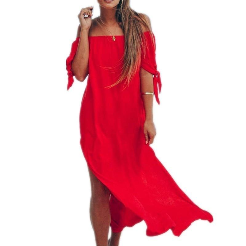 Bohemian Beach Dress Women Summer 2019 Chiffon Maxi Long Boho Dresses Vintage Sexy Off Shoulder Black Red Yellow Vestidos Robe