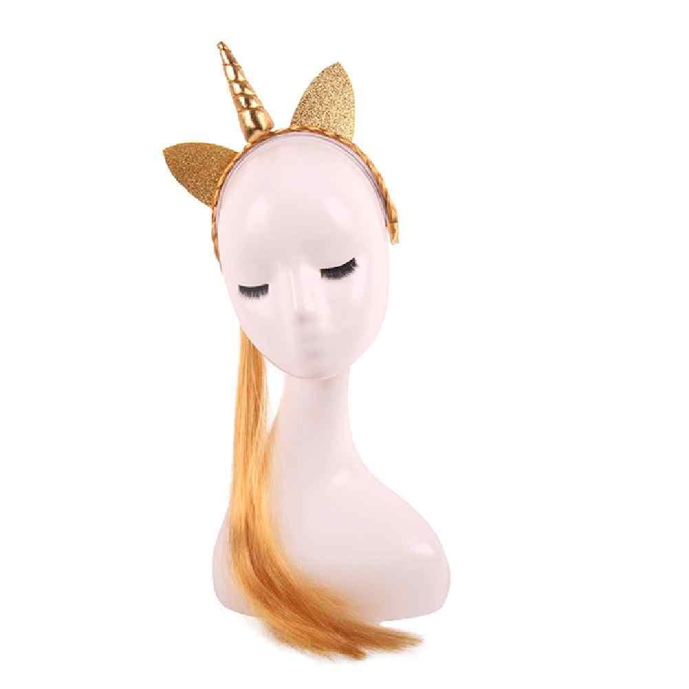 Милые радужные цветной хвост ободки с единорогами блеск уши Детский парик аксессуары для волос длинные декоративный парик мода мультфильм девушки