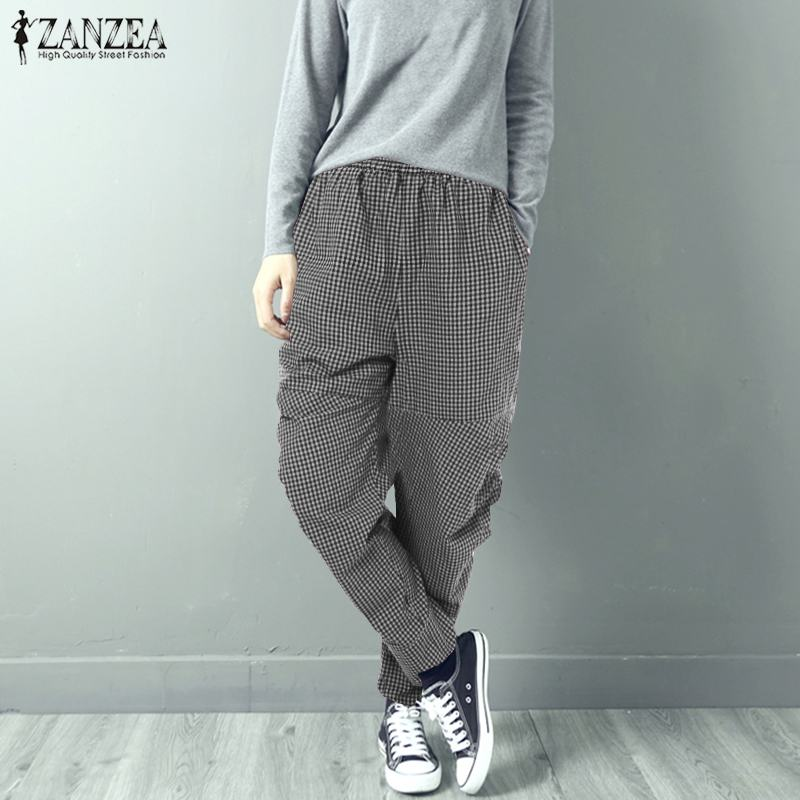 ZANZEA Women Elastic Wasit Plaid Checked Harem Pants Casual Pockets Work Party Turnip Trousers Female Robe Pantalon Plus Size