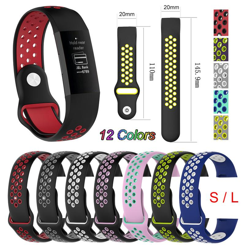 Small Bicolor Silicone Multihole Watch Band Wrist Strap For Fitbit Charge 3 Fitbit Charge 3 Smart Bracelet Wrist Band 12 Colors fitbit watch
