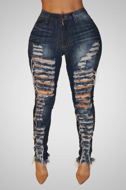 Boyfriend Hole Ripped   Jeans   Women Pants Cool Big Hole High Waist Women's   Jeans   Leggings Casual Pants Female Slim   Jeans   O8R2