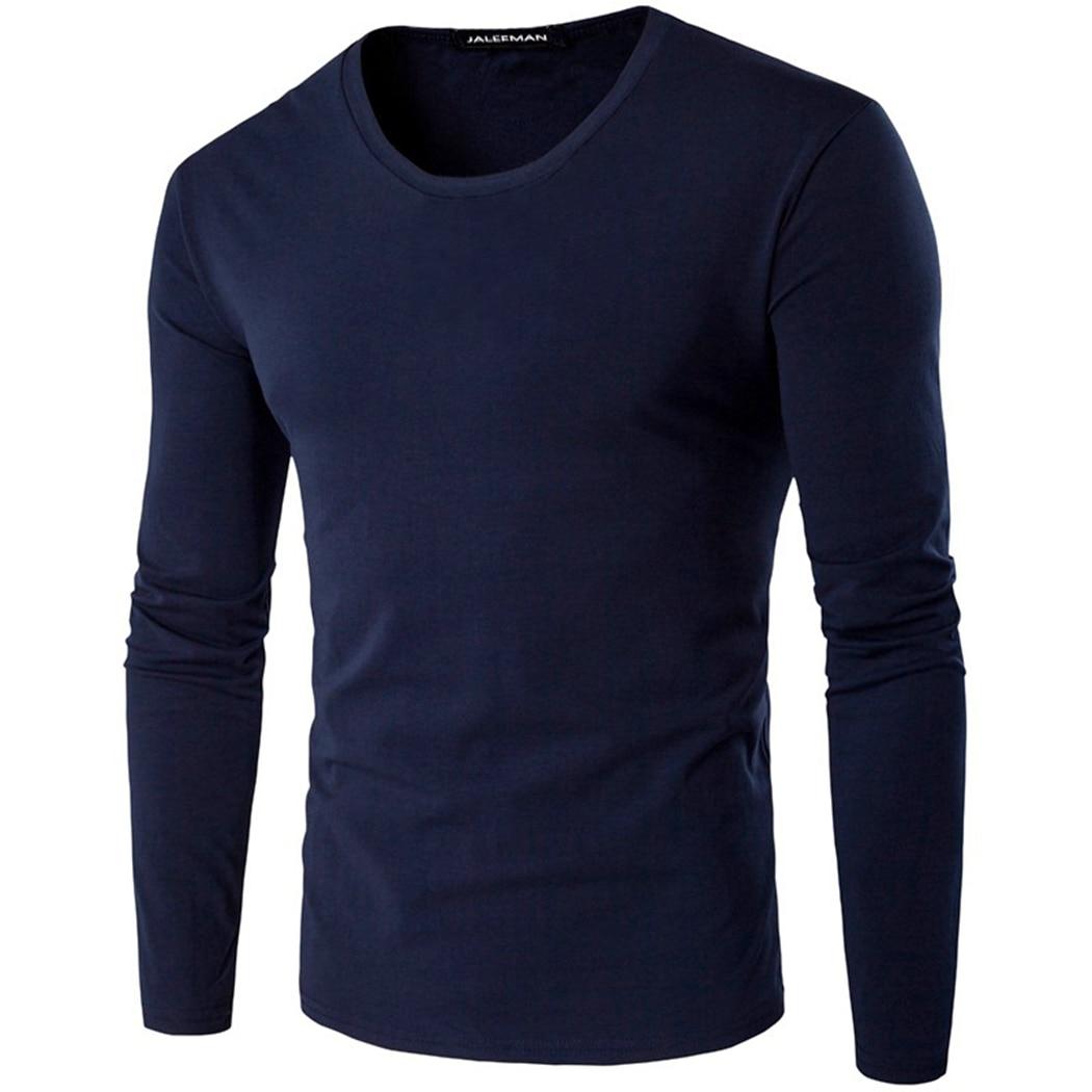 New Autumn Long Sleeve Tshirt Men Solid Casual Warm Fashion O Neck Cotton Men T-Shirt Fitness Bottom Tee Plus Size M-XXXL