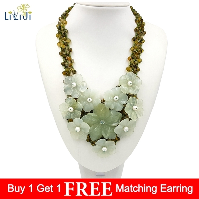 LiiJi Unique Natural Jades Flowers Dyed Green Agates Big Statement Handmade Knitting Necklace 45cm For Women Jewelry