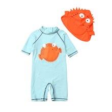 Pudcoco Meninos Um Pedaço Swimsuit Com Touca de natação Proteção Sol Dos  Desenhos Animados Crianças Swimwear Maiô Beachwear 1-6 . ccaaaeea206