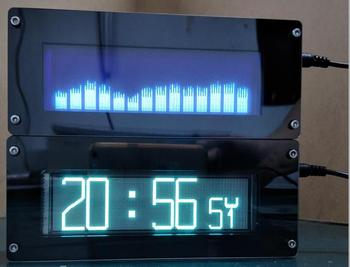 DYKB VFD FFT Espectro De Música VFD Nivel De Reloj Indicador De Audio Ritmo Pantalla LED VU Medidor OLED + Amplificador Remoto De Mp3 Para Coche