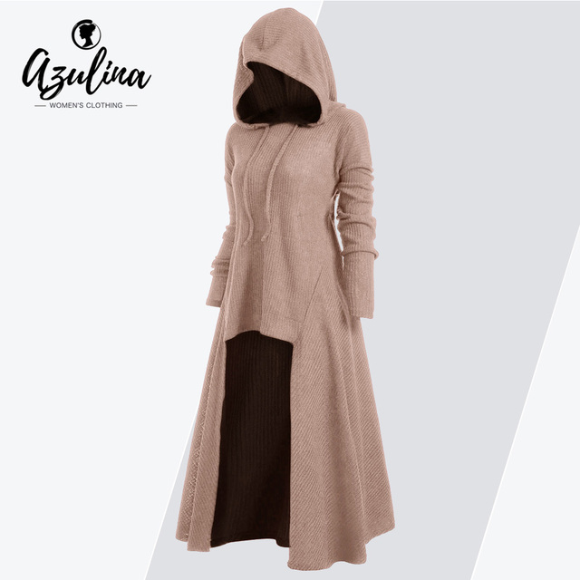 AZULINA Drawstring Plus Size Hooded Ribbed Sweater Female Casual Long  Sleeve High Low Sweaters Women Pullover Jumpers Pull Femme ece48b91994a