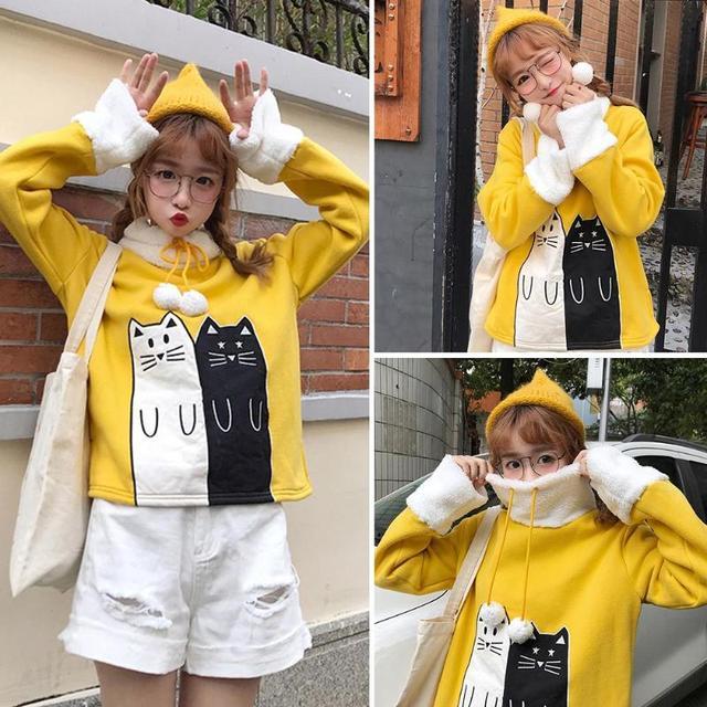 Christmas Lovely Cats Print Winter Hoodies Sweatshirt 2019 Women Female Warm Fleece Xmas Autumn Tops Women Long Sleeve Coat  5