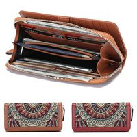 AEQUEEN Women Wallet Leather Clutch RFID 22 Card Holder National Embossed Flowers Long Wallets large capacity Vintage Coin Purse