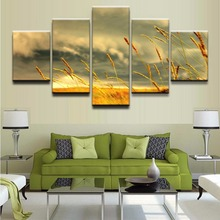 HD Printed Modular Pictures Canvas Painting For Living Room Home Wall Art Decor 5 Piece Landscape Nature Sky Sunset Wheat Poster