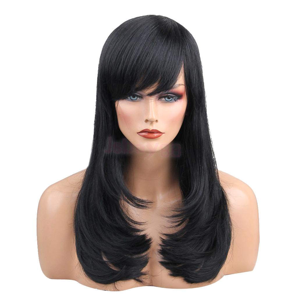 цена на Natural Long Wavy Straight Human Hair Wig Black Wigs with Side Bangs for Women