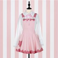 Suspender Plaid Women Dress Strap Dress Soft Kawaii Cute Overalls Vestidos Japanese Style Mori Girl Lolita JKS