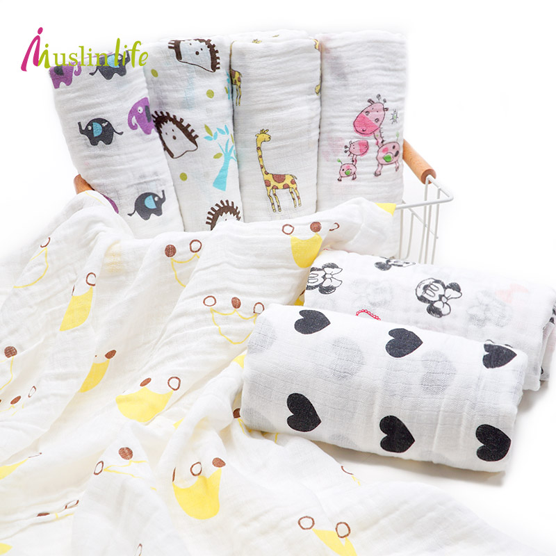 Muslinlife Cotton Baby Blankets Newborn Muslin Baby Swaddles Soft Newborn Blankets Bath Infant Wrap Sleepsack Stroller Cover