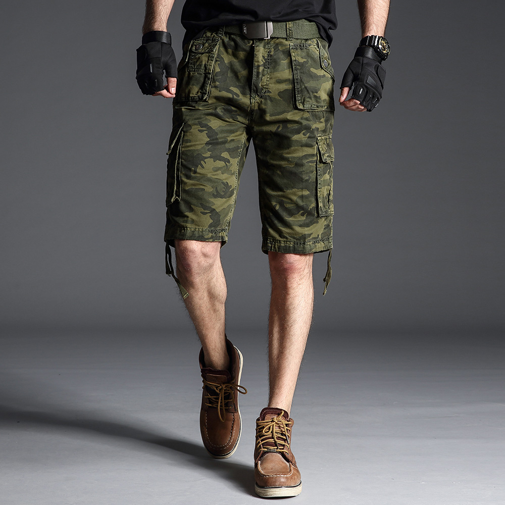 Summer Shorts Bermuda Military Camouflage Casual Breeches Many-Pockets Knee-Length Male