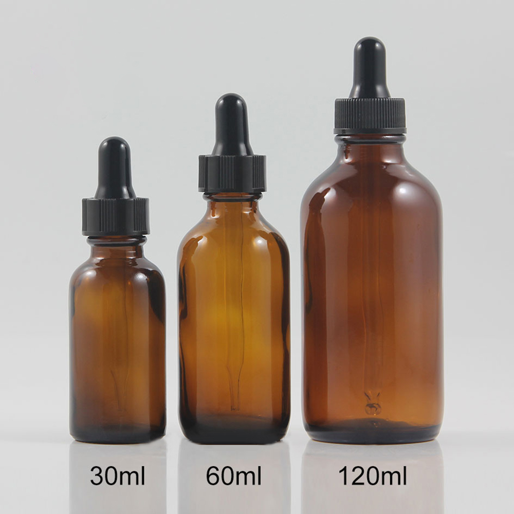 7d64c0976347 US $79.2  New design amber boston round glass bottle 30ml with plastic  black dropper bottle 30ml essential oil-in Refillable Bottles from Beauty &  ...