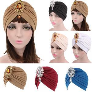 Image 1 - Kobiety indiański kapelusz muzułmański rozciągliwy czepek dla osób po chemioterapii moda chusta na głowę czapka Turban damski kapelusz Islam plisowany Rhinestone Bonnet utrata włosów