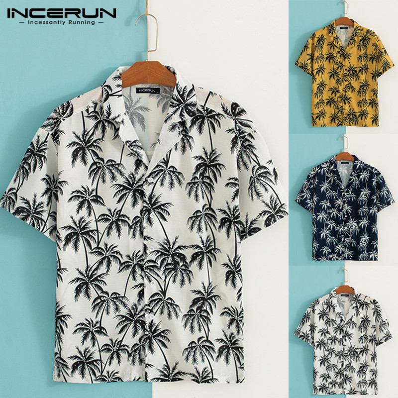 INCERUN 2019 Stylish Print Men Beach Hawaiian Shirt Lapel Neck Short Sleeve Streetwear Tops Summer Men Casual Shirt Camisa S-5XL