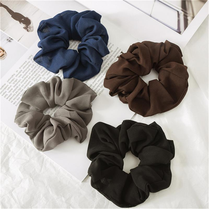 2Pcs Fashion Chiffon Simple Solid Color Ring Lady Hair Scrunchies Elastic Band Hair Ring Women's Accessories