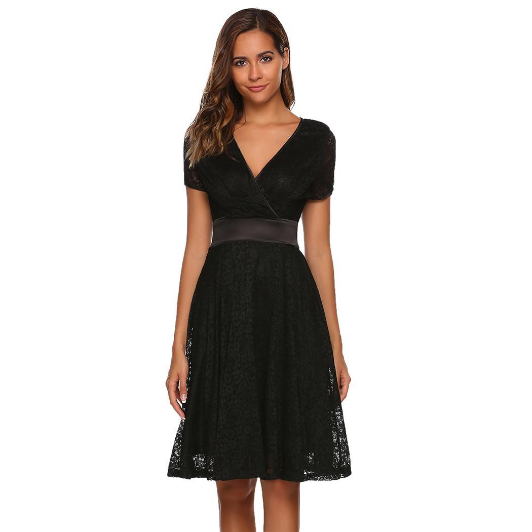 AL'OFA Women Lace   Cocktail     Dresses   Fashion A-Line Party   Dress   V-Neck Short Sleeve Lace   Cocktail     Dress   Female Clothes