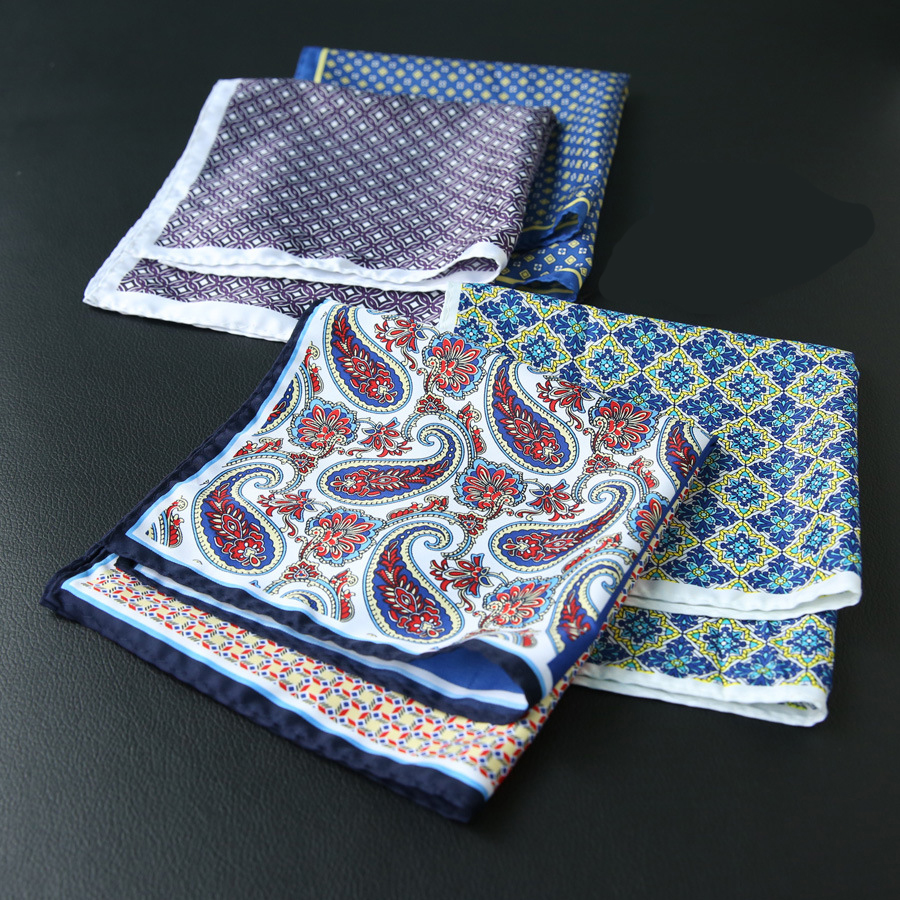 Mantieqingway Flower Dots Pocket Square Men Fashion Paisley Casual Square Pocket Handkerchiefs For Men Big Size Handkerchief