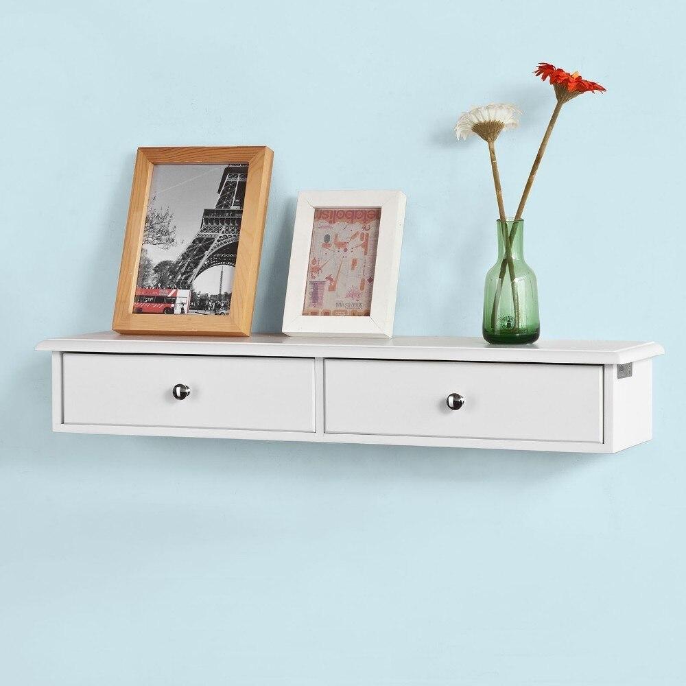 SoBuy FRG43-W, Wall Shelf Floating Shelf Wall Drawers, Wall Storage Display Unit With 2 Drawers